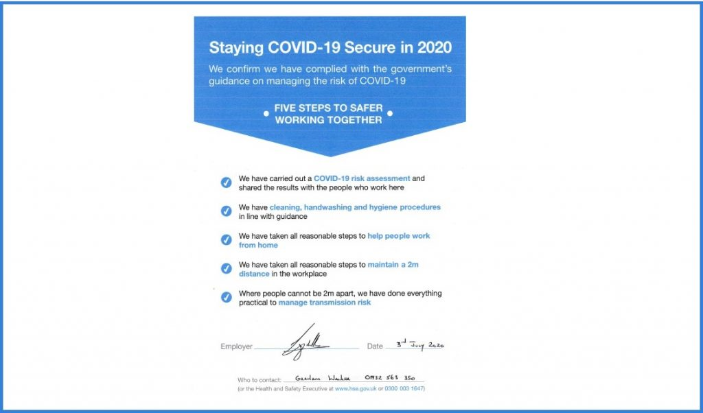 Covid-19 Secure information document