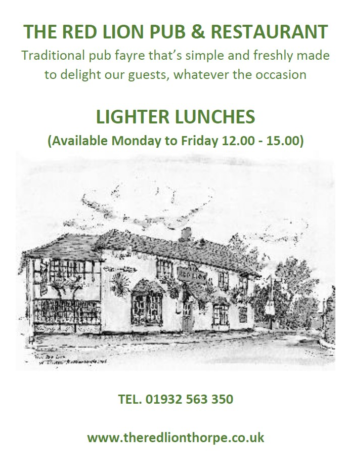 Red Lion Thorpe Lighter Lunches Menu page 1 2020