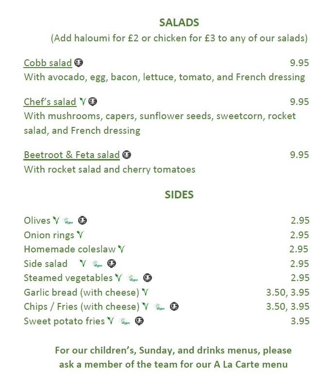 Red Lion Thorpe Lighter Lunches Menu page 2 2020