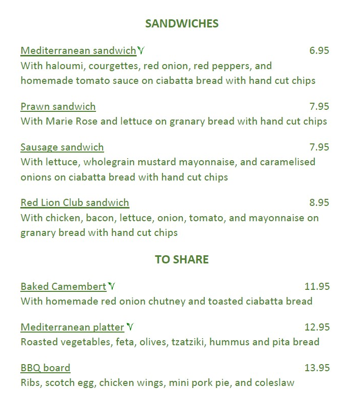 Red Lion Thorpe Lighter Lunches Menu page 4 2020